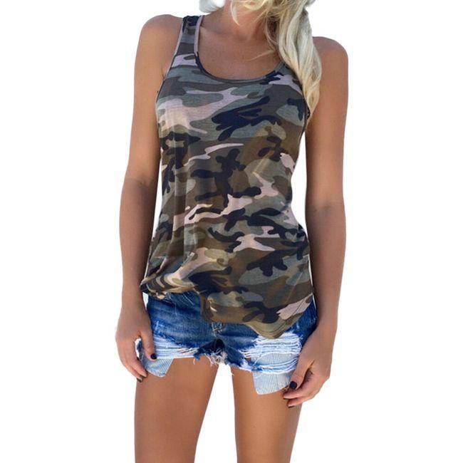 Ženska majica brez rokavov z maskirnim vzorcem 1
