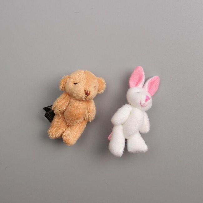 Sponka za lase - zajec, medved 1