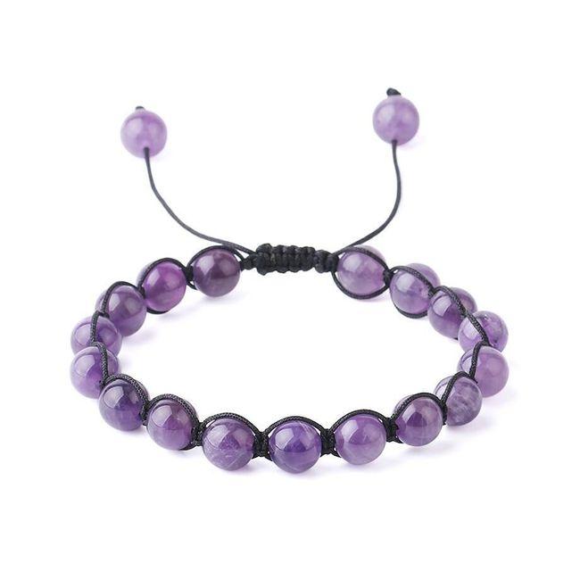 Korálkový náramek s nastavitelnou délkou - fialová barva 1