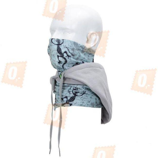 Multifunkční šátek s fleecovou kapucí - modro-šedý 1
