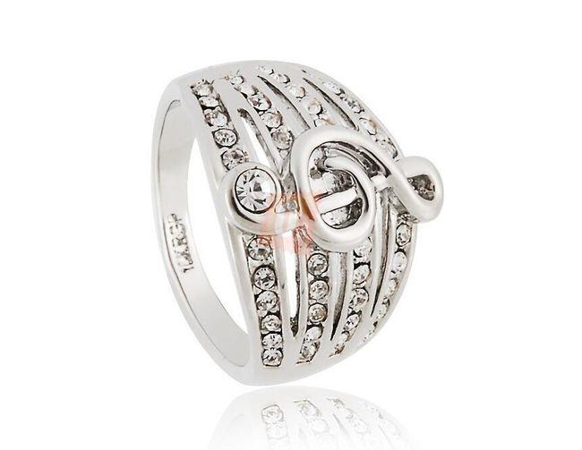 Pierścionek z kluczem wiolinowym - srebrny  1