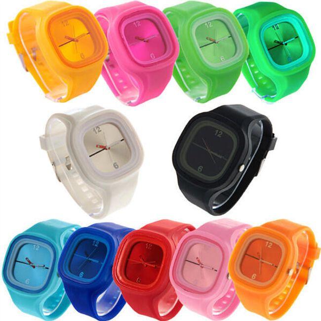 Silikonové hodinky Jelly Square - 11 barev 1
