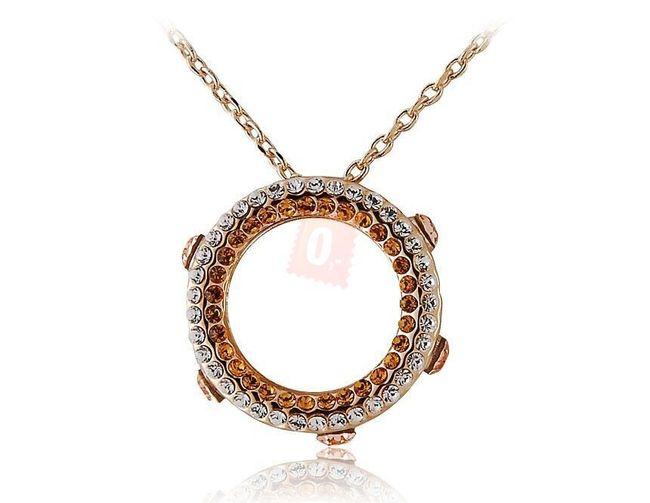Náhrdelník s kroužkem s bílými a žlutými kamínky - zlatá barva 1