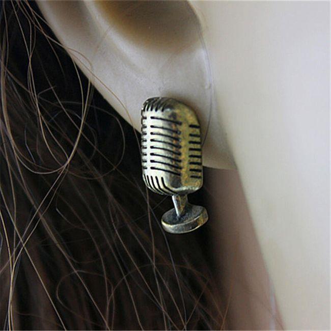 Náušnice s mini retro mikrofonem 1