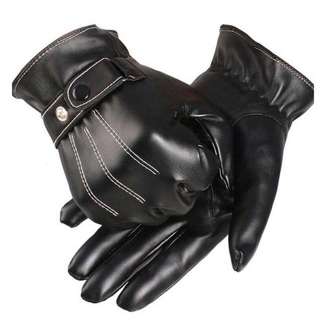 Muške crne rukavice od veštačke kože 1
