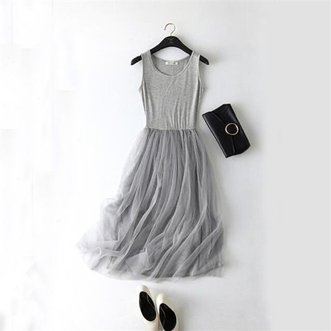 Lehké šaty s tylovou sukní - Šedá 1