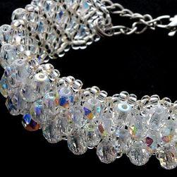 Náramek svatební šítý z korálků-sparkle