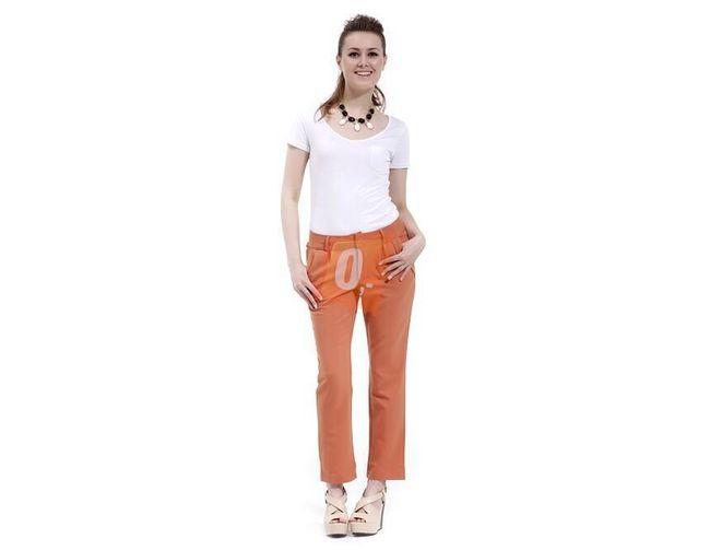 Dámské dlouhé kalhoty v oranžové barvě  1