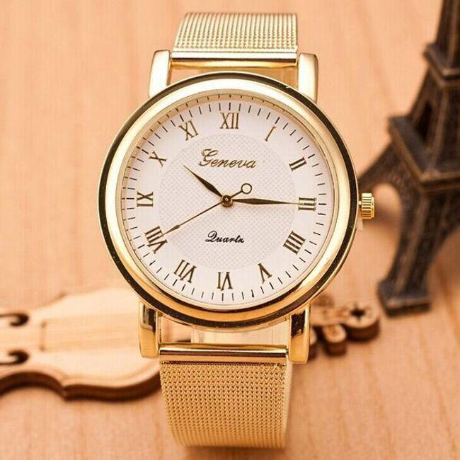 Altın renkli modern bayan kol saati 1