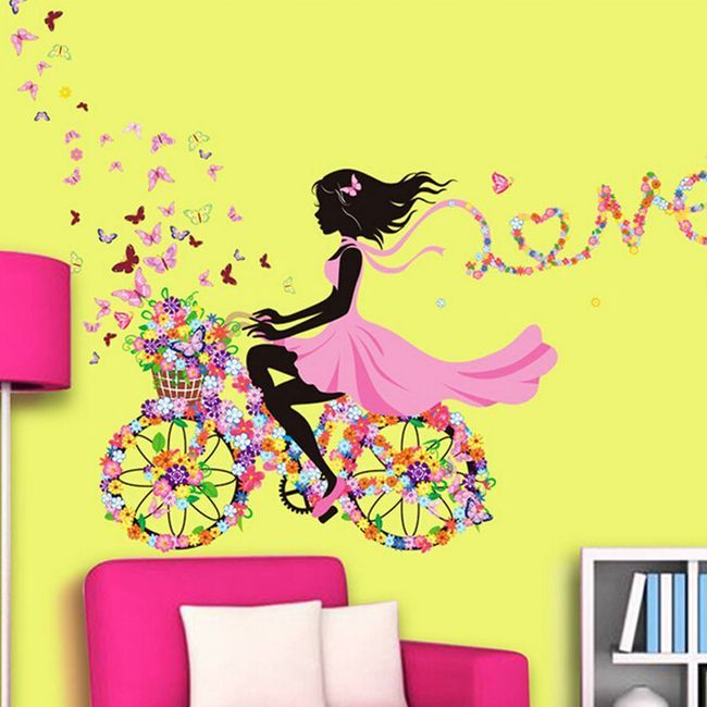 Samolepka - Dívka na květinovém kole 1