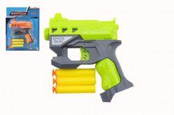 Pistolet na naboje piankowe z przyssawkami + naboje 3 szt plastik 12x14cm 2 kolory RM_00850315