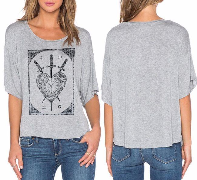 Női póló antik nyomtatással - szürke