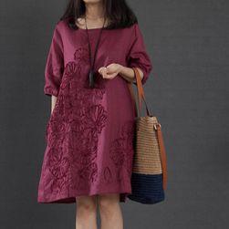 Ženska obleka Leniona Vinsko rdeča - velikost M/L