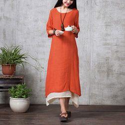 Damska bawełniana długa sukienka w większych rozmiarach - 3 kolory