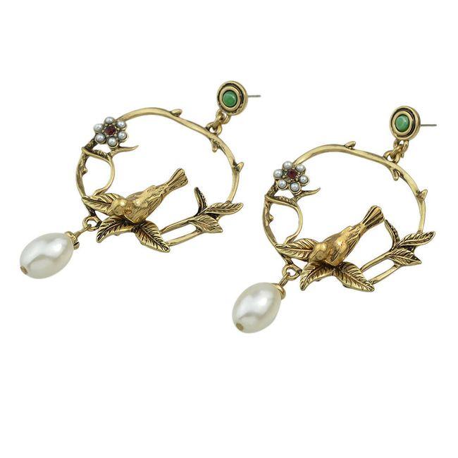 Náušnice - perly a květiny 1