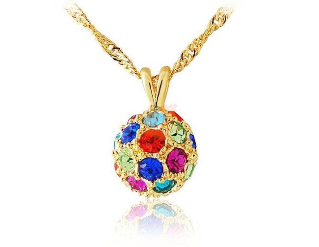 Náhrdelník s kuličkou a barevnými kamínky - zlatá barva 1