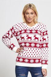 Дамски Коледен пуловер с елени - 2 цвята