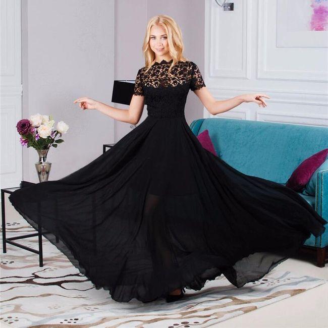Nádherné dlouhé šaty s květovanou aplikací 1