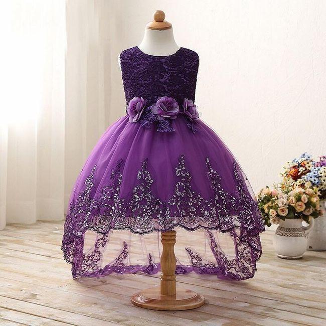 Dětské asymetrické šaty - Fialová-velikost č. 4 1
