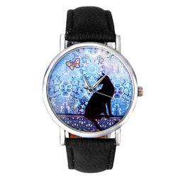 Ceas pentru femei cu un motiv de pisici - 3 culori