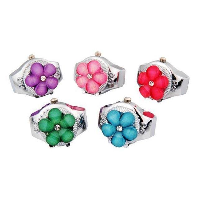 Ceas inel cu flori colorate 1