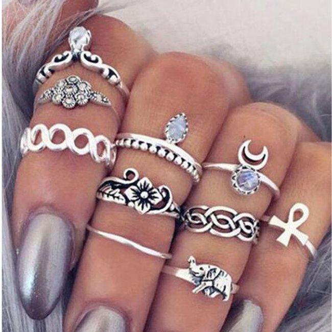 Set vintage prstanov v srebrni barvi - 10 kosov 1
