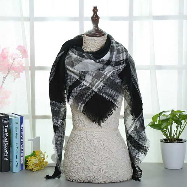 Kostkovaný šátek na krk - 13 1