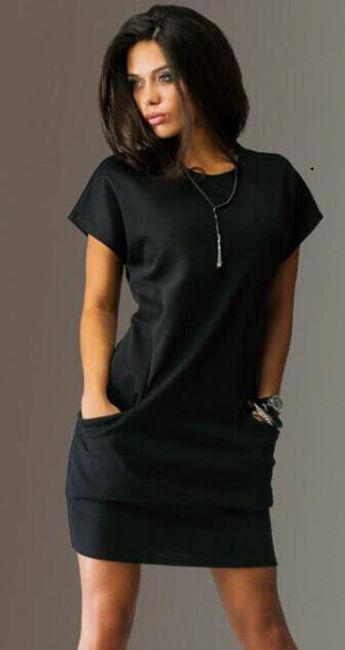 Dámské šaty s kapsami - Černá-velikost č. 5 1