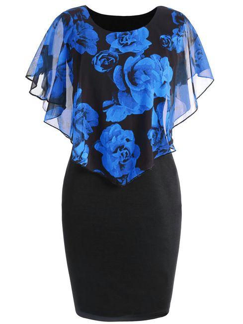 Dámské šaty Ericka v plus size velikostech - Tmavě modrá-3XL 1