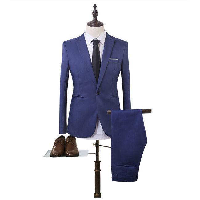 Pánský společenský oblek - sapphire modrá, velikost č. 2 1