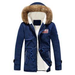 Pánská zimní bunda s kožíškem - Černá-velikost č. 5