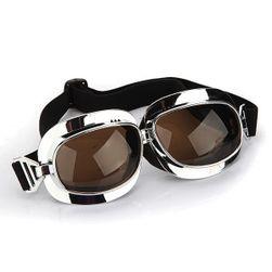Naočare za motoraše srebrne - braon naočare