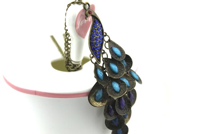 Vintage náhrdelník s přívěskem páva 1