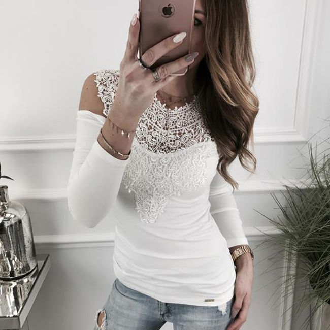 Elegantní tričko Anneke s krajkami - Bílá-XS 1