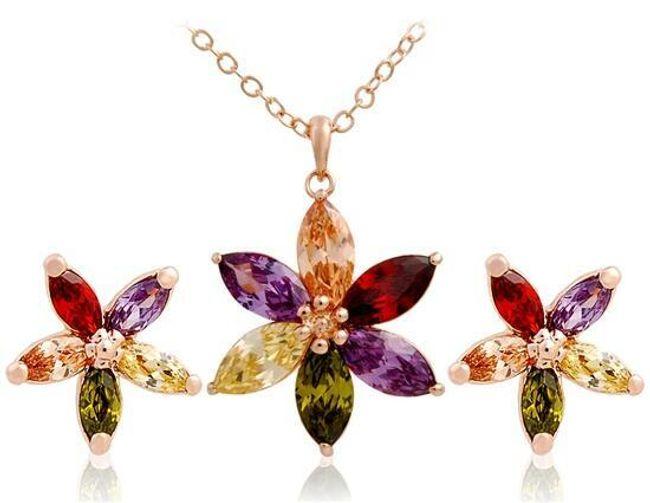 Sada náhrdelníku a náušnic s motivem květiny z barevných kamenů 1