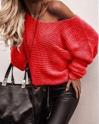 Dámský volný svetr - červený