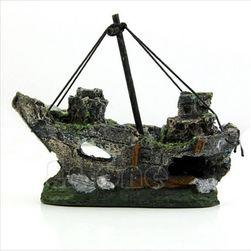 Akvárium dekoráció - kalózhajó roncsa