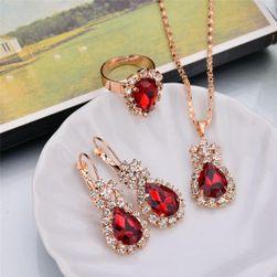 Set de bijuterii în stil retro Roșu
