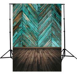 Stúdió fotó háttér 1,5 x 2,1 m - Türkiz parketta fal és fa padló