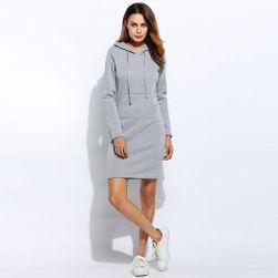 Ženski pulover/obleka s kapuco - 3 barve
