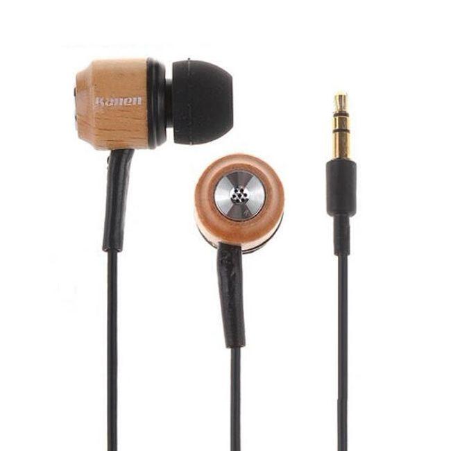 Stereo sluchátka 3,5 mm - špunty, dřevěné 1