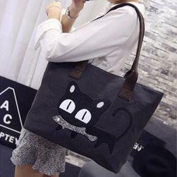 Большая женская сумка с черной кошкой