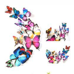 Nalepnica za zid - šareni 3D leptiri - 12 komada