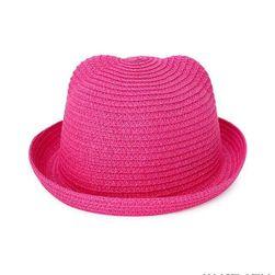 Dětský jednobarevný slaměný klobouk - 14 barev