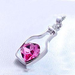 Colier elegant în formă de sticlă cu inimă în interior