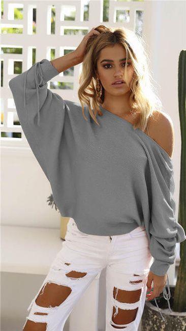 Tričko s odhaleným ramenem v pleteném stylu 1