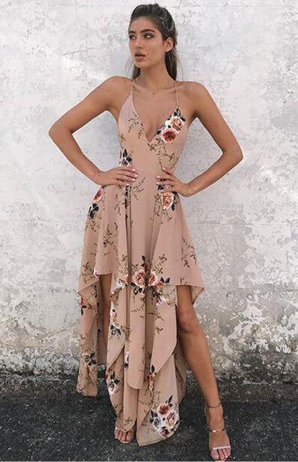 Asymetrické šaty s květinovým vzorem - 2 barvy  1