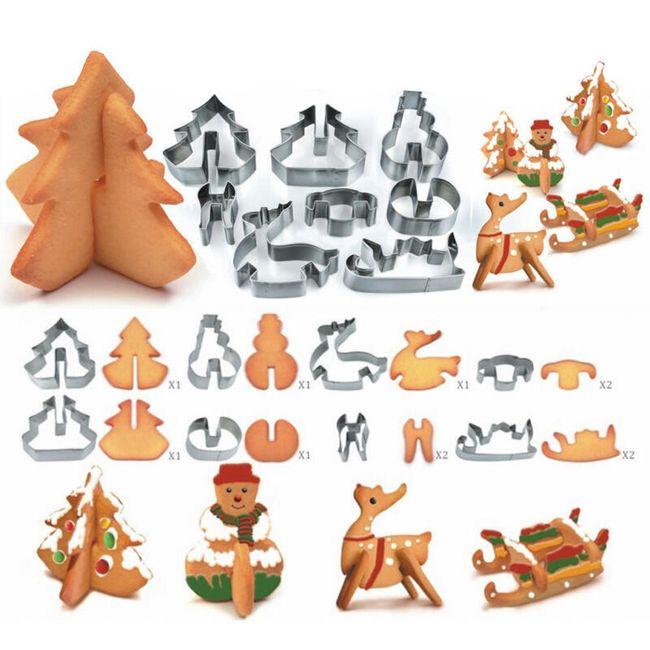 8 bucăți cutter aluat 3D cu motive Crăciun 1