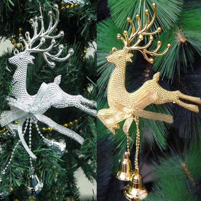 Božična dekoracija - jelen z zvončki 1