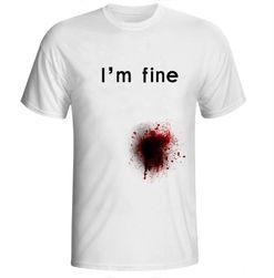 """Tricou bărbătesc cu pată de sânge și inscripția """"I'm fine"""" - 2 variante"""
